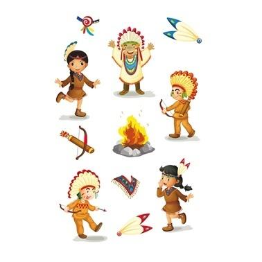 Herma lisanslı Etiketler Kızılderili Çocuklar Renkli